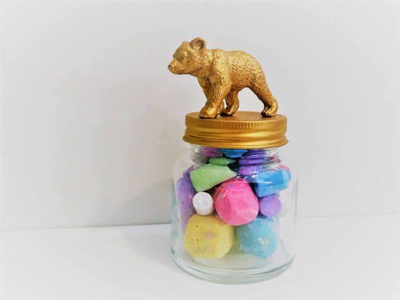 Small Gold Baby Bear Mason Jar Topper // Animal Jar Storage // Animal Jar Lid Decoration // Small Mason Jars // Decorative Mason Jar Topper