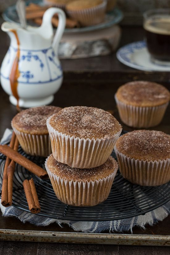 These Caramel Cinnamon Sugar Muffins have caramel coffee creamer in the batter, plus the tops are dipped in cinnamon sugar! | The First Year