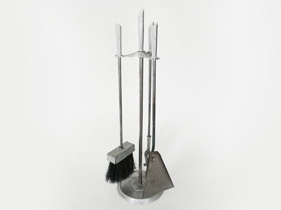Modern Fireplace Tools / 4 Piece Hearth Set Steel by PopBam