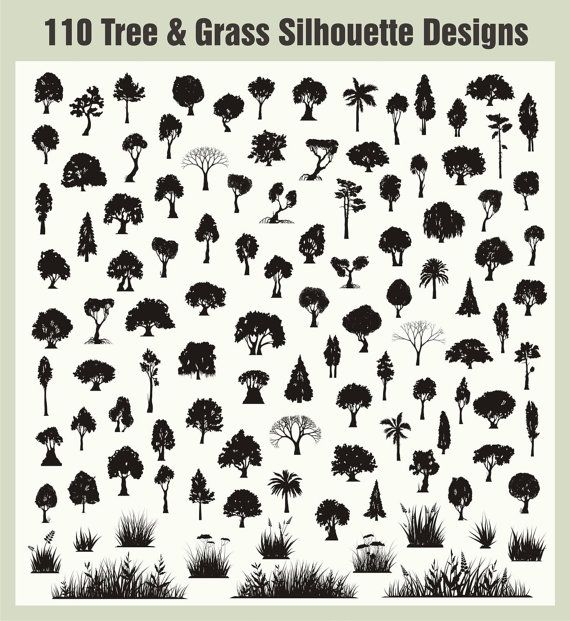 110 Silhouette Tree and Grass Vector by VectorClipartDesign