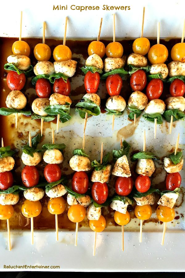 These Mini Caprese Skewers are a light, quick appetizer to make for Easter brunch, lunch, or dinner! #Appetizer
