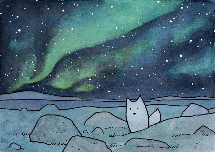 Northern Lights 11x14 Illustration Print with Fox