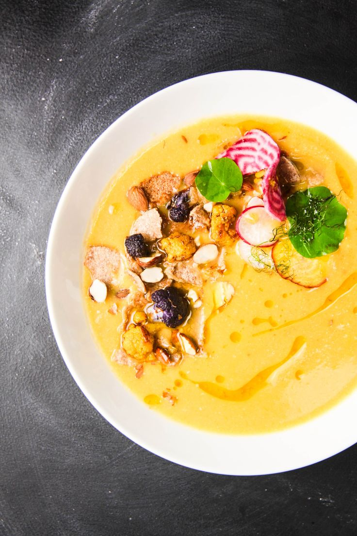 Cauliflower Fennel Miso Soup with Almonds and Lime Oil | Berries and Spice