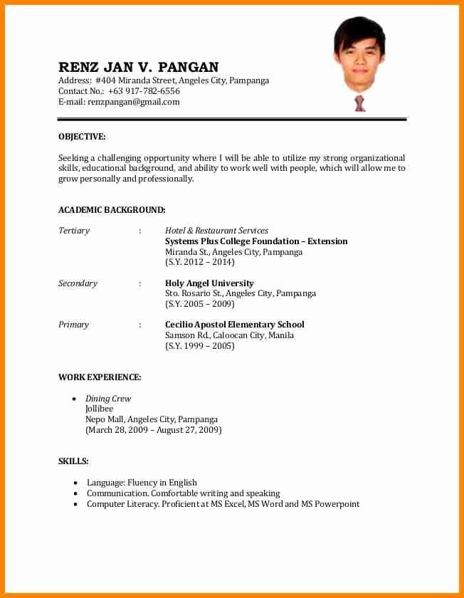 Format Of Resume For Job Best Of Example Simple Resume For Job