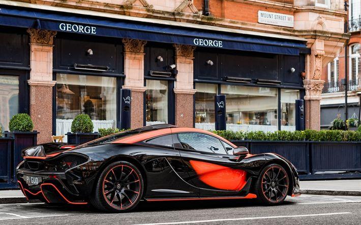 Scarica sfondi P1 McLaren MSO, 2017, hypercar, messa a punto P1, nero-arancio P1, Britannico di auto sportive, la McLaren