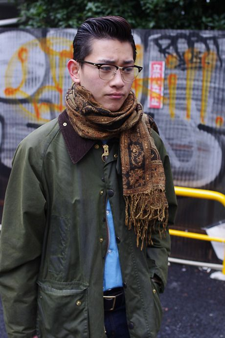 Barbour Jacket and Paisley Scarf, Street Style, Mens Spring Summer Fashion.