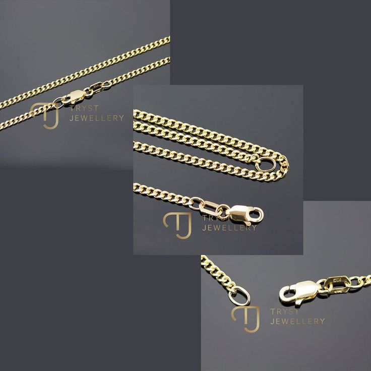 AUSTRALIAN MADE 9Ct SOLID Gold Curb Necklace FROM $369.95 FREE postage!  http://trystjewellery.com/9Kt-9Ct-SOLID-Yellow-Gold-Curb-Necklace-Chain-2mm-45cm-50cm-55cm-GENUINE-NEW-CG4
