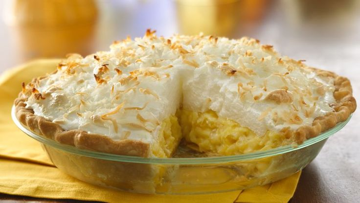 Enjoy this pineapple mixture filled cream pie with meringue topping – a wonderful dessert baked using Pillsbury® refrigerated pie crusts.