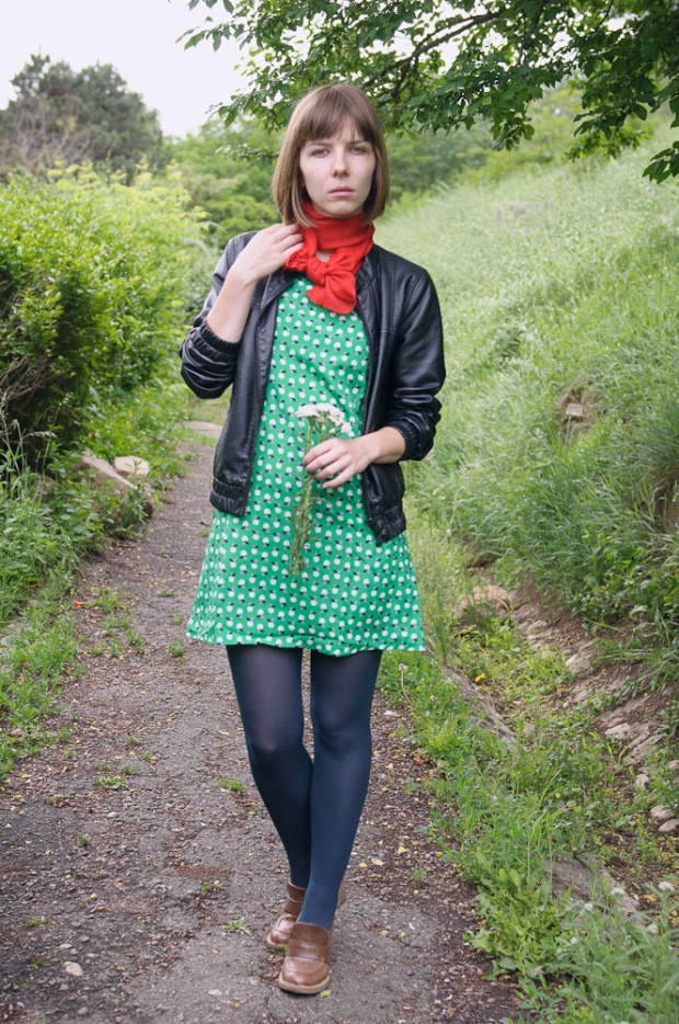 Blue tights. Green/ White Dress. Brown Shoes. Black ...