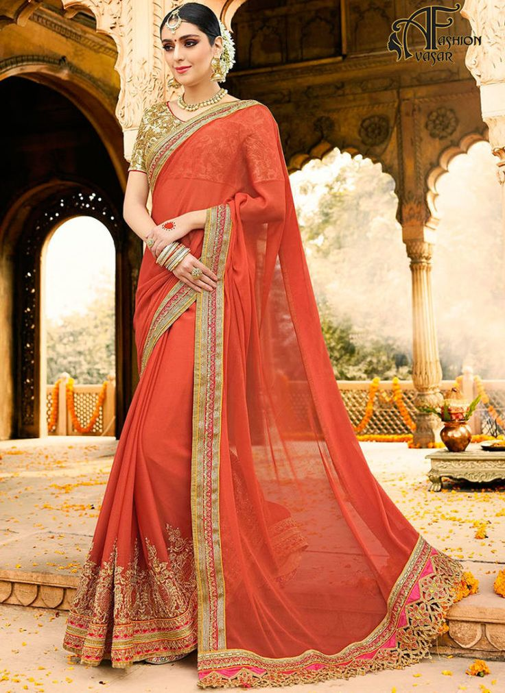 Party Wear Sarees Online – Red Georgette Saree India