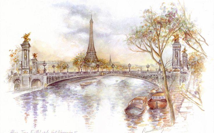 Rysunek, Wieża, Eiffla, Paryż