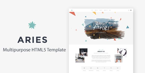 Aries Multipurpose, Corporate Responsive HTML5 Template . Aries is a Powerfull HTML5 template, that both works great on your Personal Computer, or on your tablet and mobile devices. It's got some powerfull and eye cathing features, such as animates boxes, filterable portfolio, fullwidth and boxed version and much more. Other than that you get working