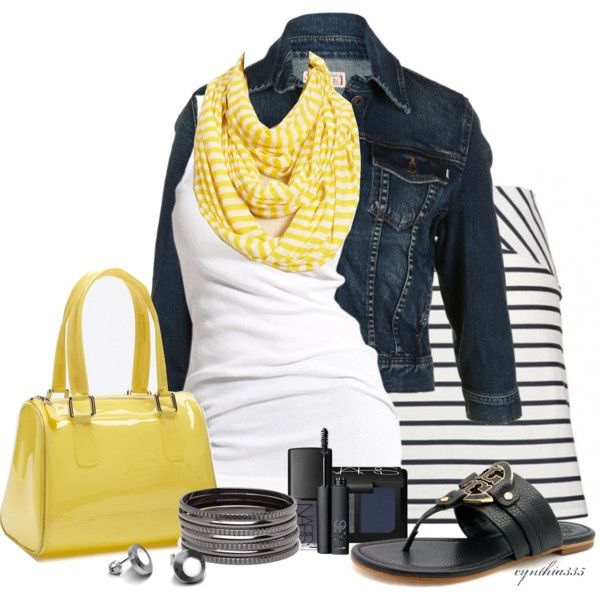 Navy and YellowFashion, Weekend Outfit, Summer Outfit, Style, Jeans Jackets, Clothing, Stripes Skirts, Yellow, Spring Outfit