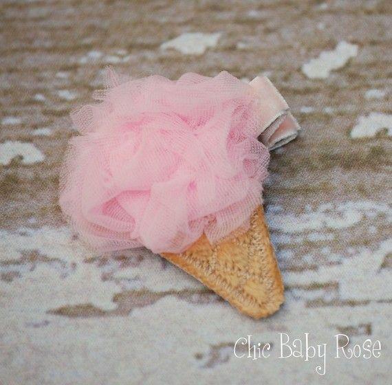 cute hair clip idea: Idea, Craft, Hair Clips, Ice Cream, Cute Hair, Hair Accessories, Baby