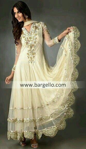 White and gold pakistani dresses