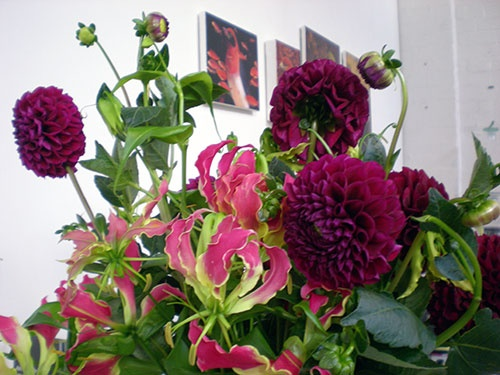 Happy Valentines Day! We adore this bunch of exotics, studded with Dahlias.