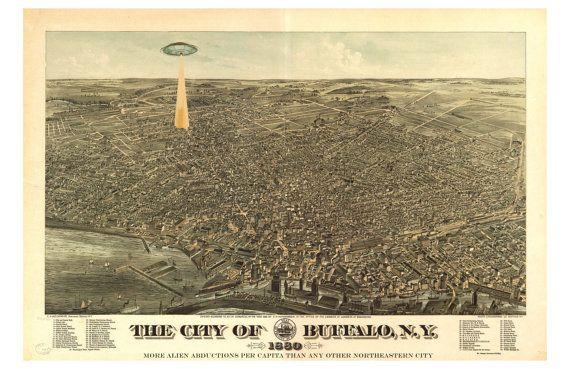 Digital Print, Buffalo NY, Buffalo Map, UFO, geekery, flying saucer, alternate histories, UFO art, Alien Abduction, Buffalo art, Wall Art
