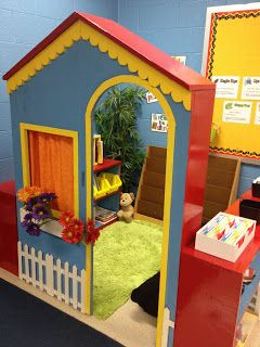 Kindergarten needs a little pop to it, why not use a small playhouse for the kids??