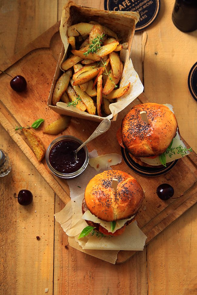 Burger with black cherry ketchup and homemade fries