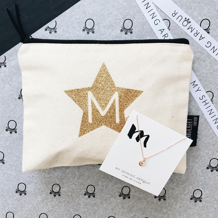My Shining Armour Gold Glitter Star Alphabet Pouch and Engraved Initial Rose Gold Disc Delicate Necklace.   Shop at http://myshiningarmour.com