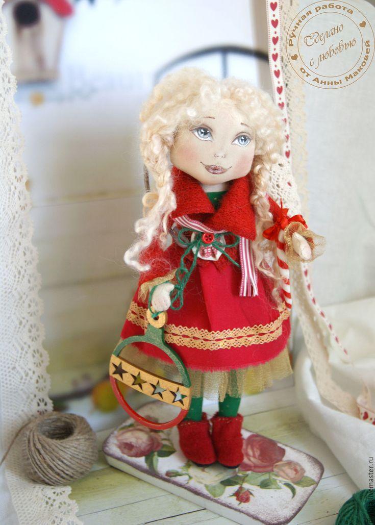 Купить Кукла авторская коллекционная Кристи - ярко-красный, зеленый, красно-зеленый