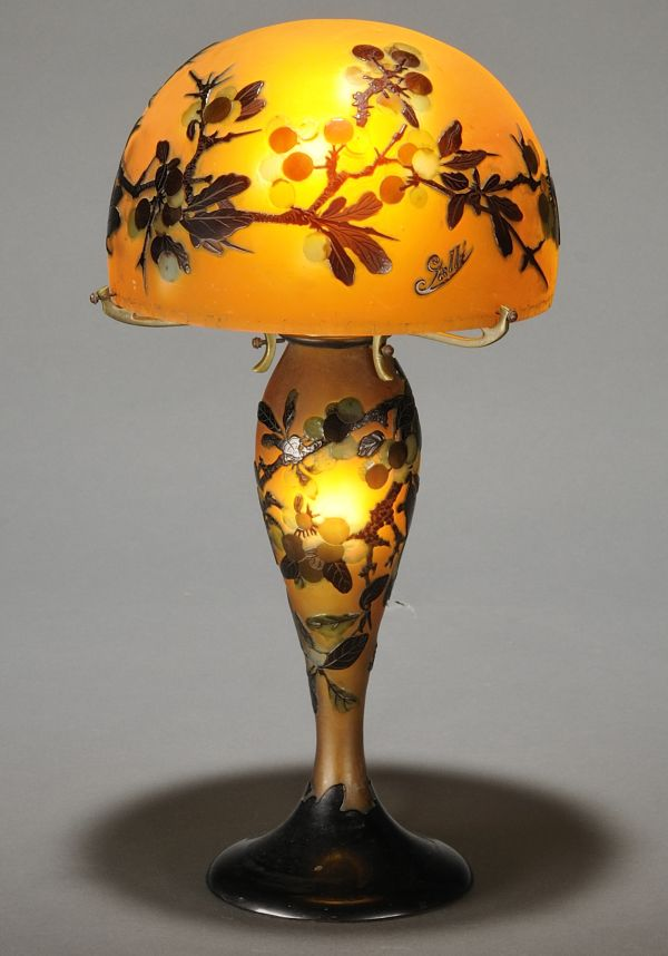 Gallé Cameo Glass Table Lamp, Art Nouveau Glass, France, 20th century, Auctioned for over 10 thousand dollars.