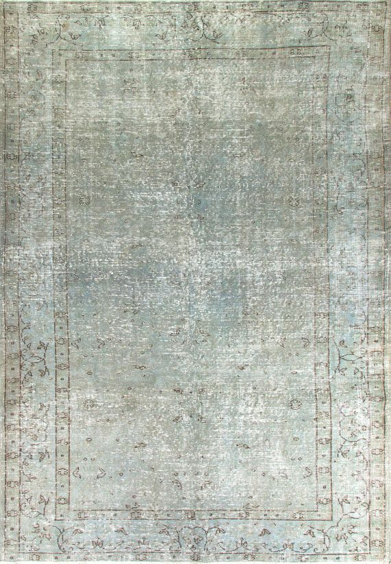 6 x 8.5 Feet    Vintage Handmade Oriental Rug for Modern decor, OVERDYED in light blue gray color, wool and cotton blend, k18