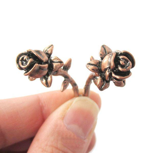 Detailed Rose Floral Flower Shaped Plug Fake Gauge Earrings in Copper $15.99 #flowers #roses #earrings #jewelry #cute