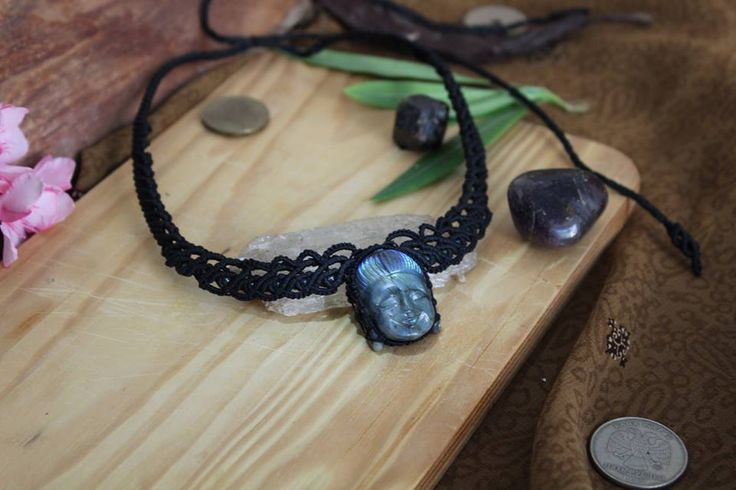 Buddha Choker | Hand carved Labradorite center piece, Glass beads.    Find me on: fb.me/pinsfeathers