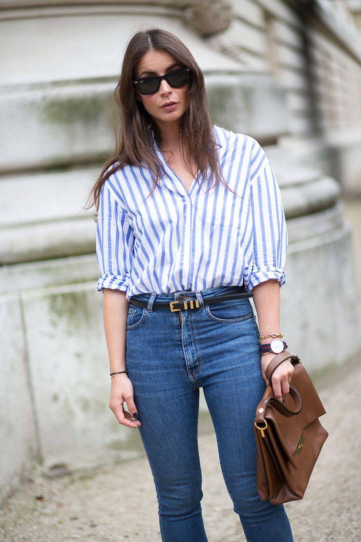 Striped button down, jeans, Celine bag.