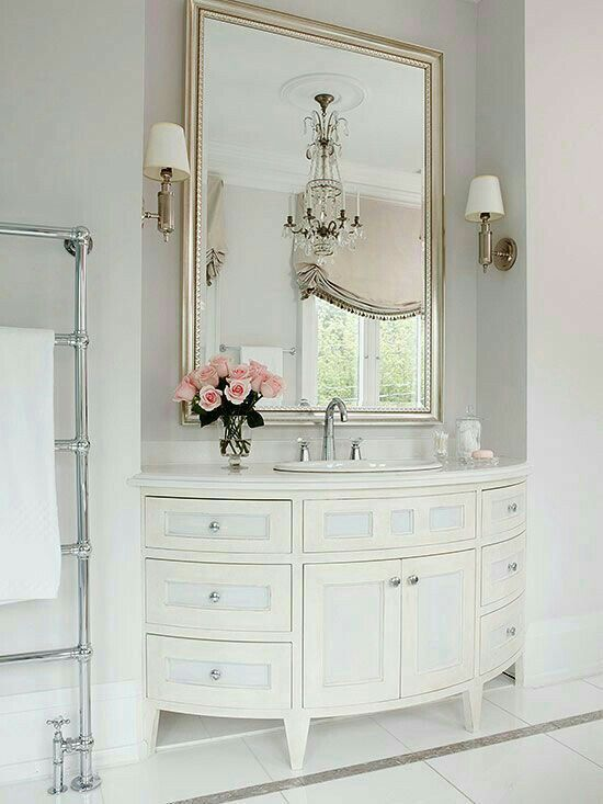The graceful curved legs on the furniture style vanity commands attention  in the feminine bathroom  The variation of pure white and off white paint  adds an  Top 25  best Feminine bathroom ideas on Pinterest   Marble kitchen  . Small Bathroom Mirrors. Home Design Ideas