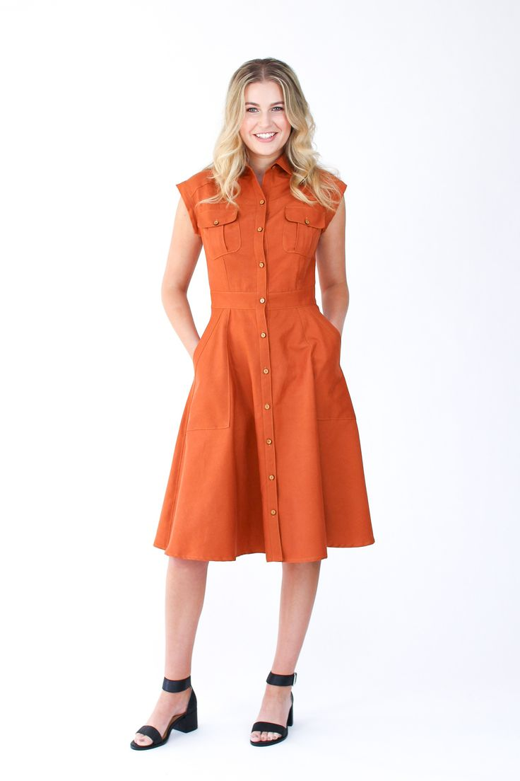 Matilda dress sewing pattern by Megan Nielsen // Modern utility style shirt dress with classic tailoring techniques. Pattern features princess seams, drop shoulders, pleated breast pockets, an A-line skirt with roomy statement pockets, collar and stand.