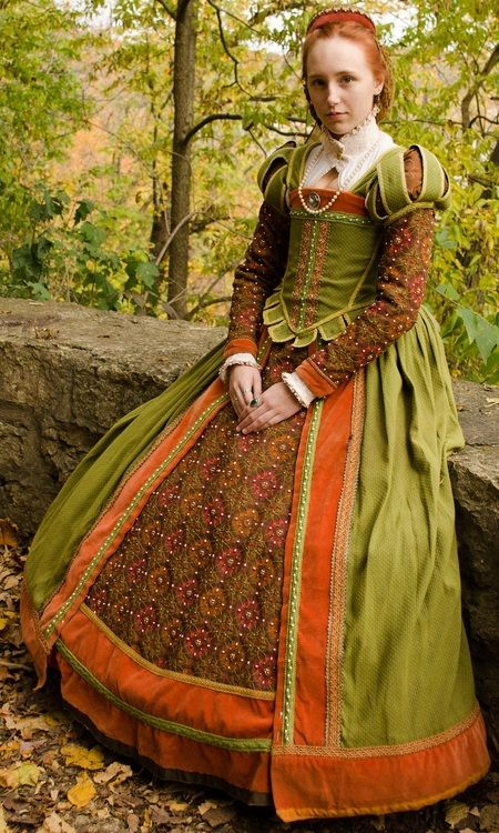 Elizabethan Green and Orange Gown (Stronghold Olde English Faire...