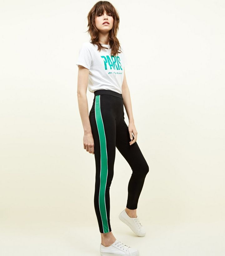 Black and Green Side Stripe Leggings | Pants in 2019