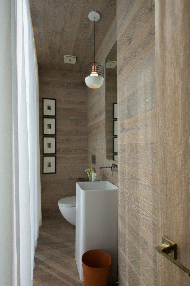 Limed Oak bath. White accent lighting. Porcelain wood grain tile inspired.