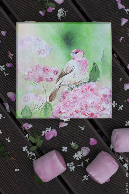 Купить Шкатулка для украшений Rose - розовый, лето, птица, птицы, малиновка, малиновый, сад, зелень