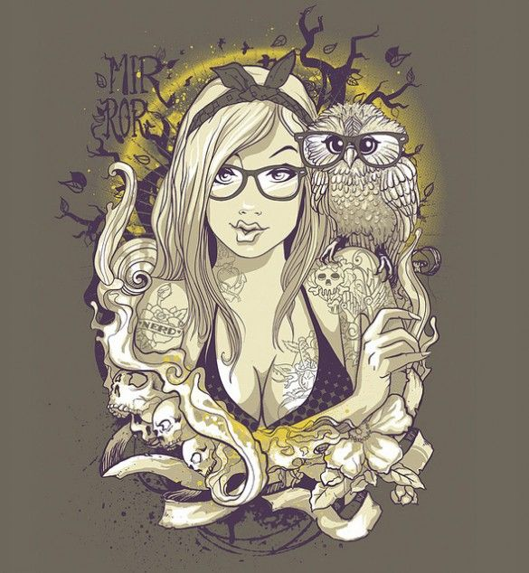 Mirror nerd skulls owl sensual sexy custom t-shirt design by Estúdio Gato Preto