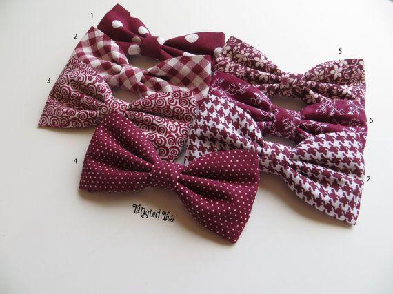 Wedding Bow Tie  Burgundy Burgundy Wedding by TangledTiesBowTies