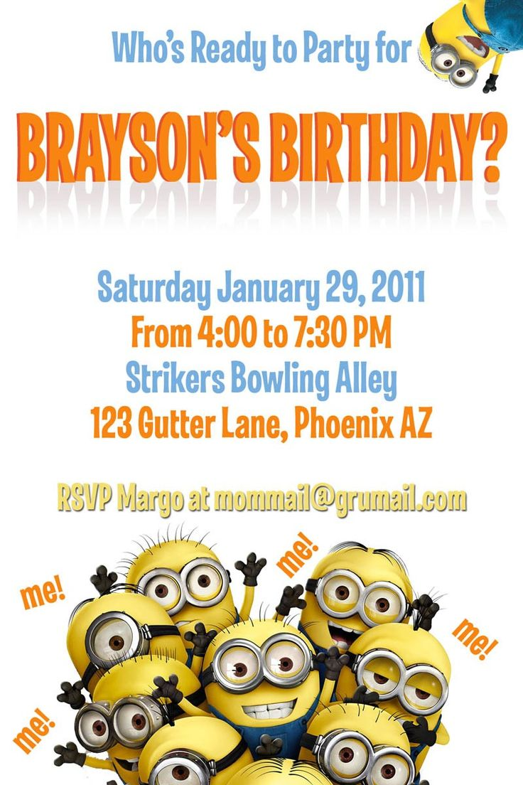 template for a dispicable me invitation cards | despicable me minions birthday: Minion Birthday, Birthday Parties, Abigail Birthday, Invitations Cards, Invitation Cards, Shawn Birthday, 2Nd Birthday, Minions Birthday, Jace Birthday