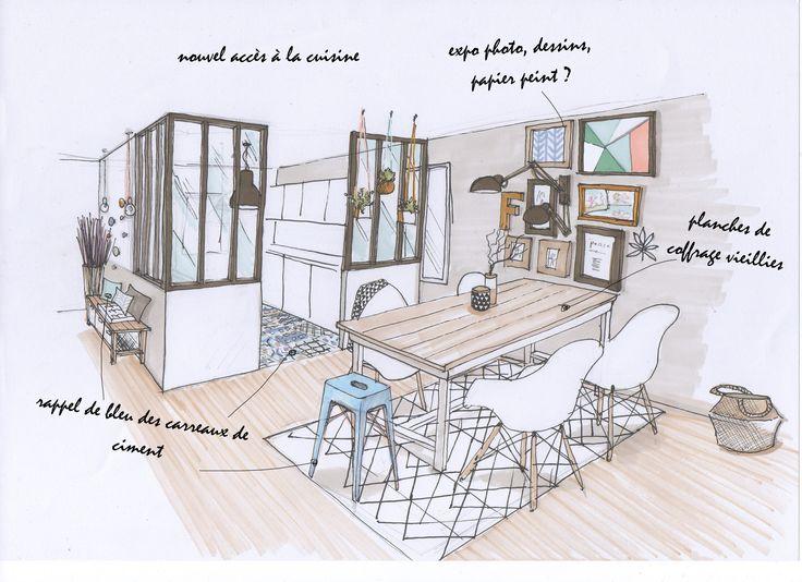 une cuisine ouverte avec une jolie verri re d 39 atelier et carreaux de ciment au sol la salle. Black Bedroom Furniture Sets. Home Design Ideas