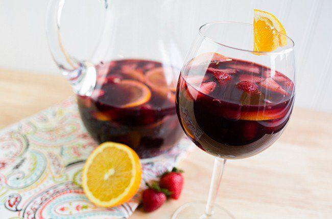 Skinny Sangria Recipe Beverages, Cocktails with red wine, orange juice, orange, strawberries, fresh raspberries, blackberries