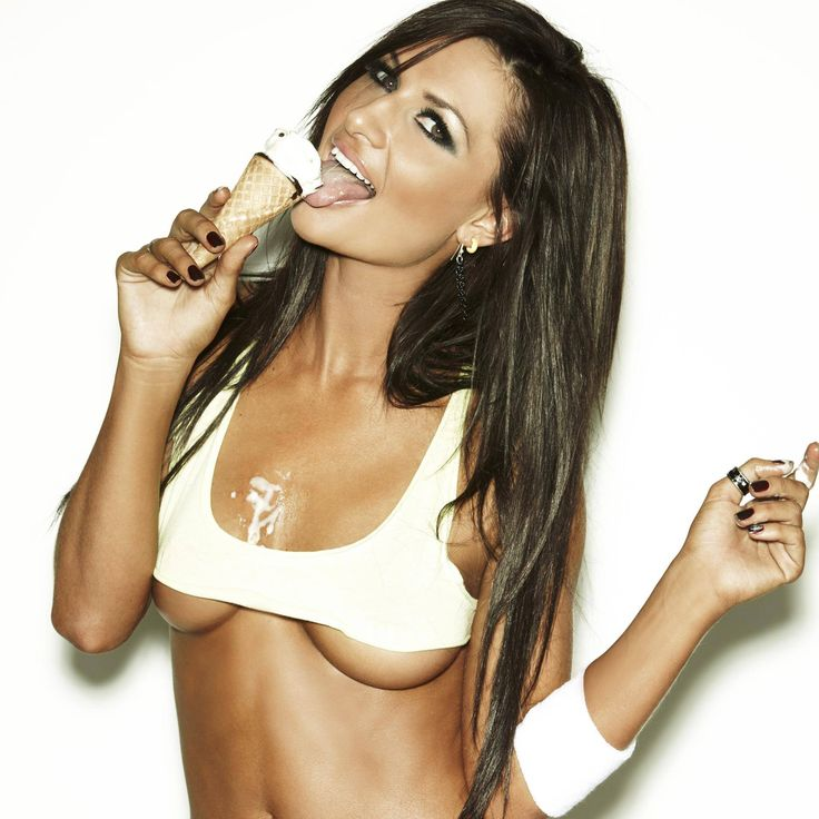 sexy woman covered in ice cream