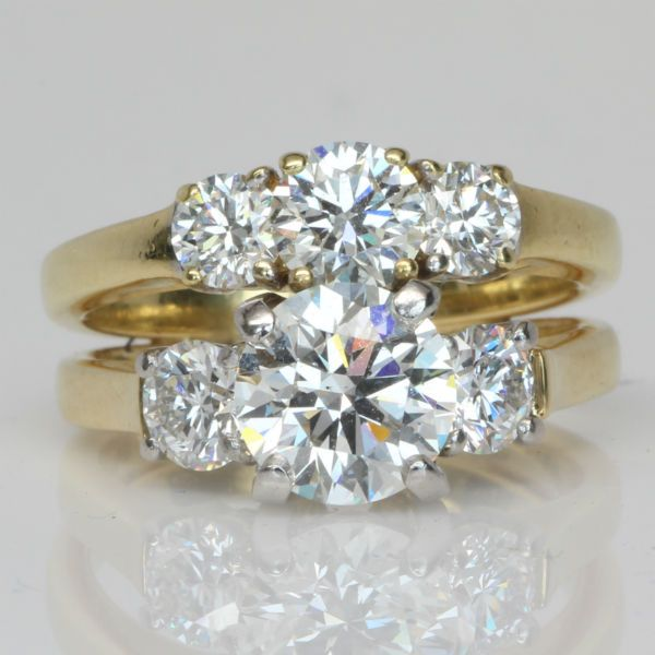 3 CTW 3 Stone Diamond Ring and Wedding Band.  Diamond Exchange Dallas has 100's of wholesale diamond engagement rings.  Find out more about our selection at http://diamondexchangedallas.com/engagement-rings-dallas
