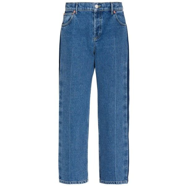 Balenciaga Rockabilly Cropped Denim Jeans (890 570 LBP) ❤ liked on Polyvore featuring jeans, blue, balenciaga, rockabilly jeans, cropped jeans, blue jeans and striped jeans