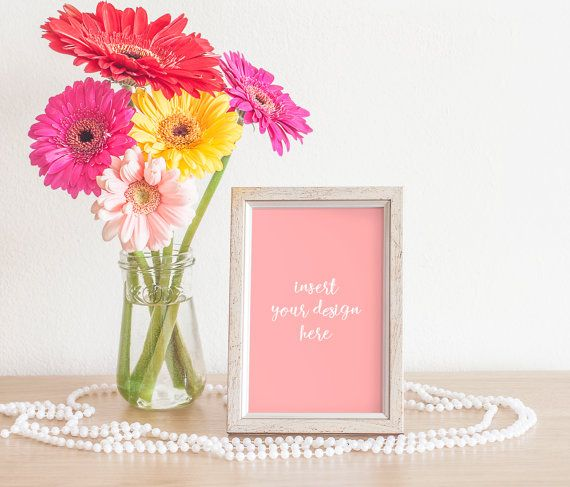 Silver/Grey Frame Mockup With A Bouquet Of Gerbera by JeanBalogh