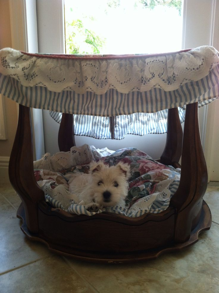 Dog canopy bed made from an end