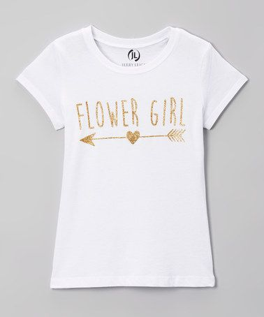 $8.99 marked down from $15.99! Arctic White 'Flower Girl' Arrow Tee - Girls #flowergirl #zulilyfinds