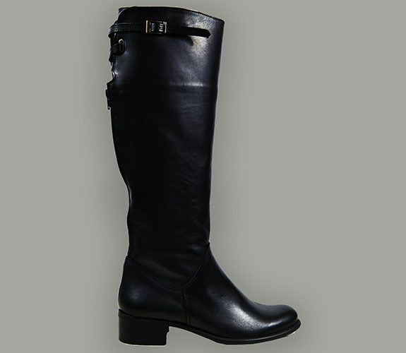 RIDING BOOT - MADE IN ITALY, LEATHER, BUCKLES AND ZIPPER, BLACK