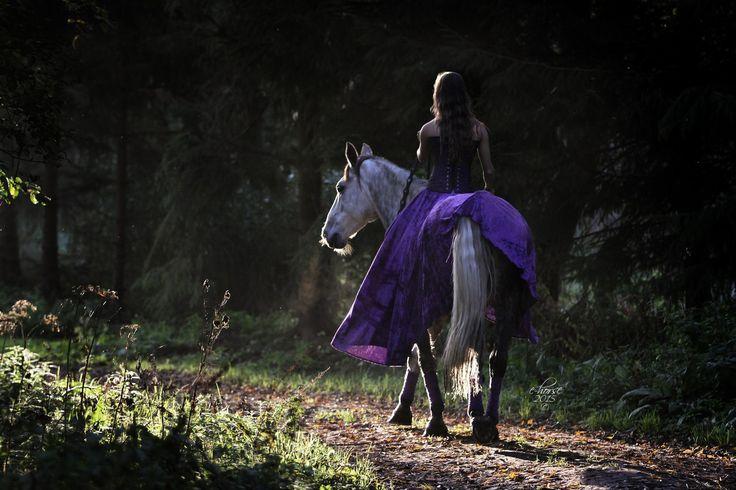 Paardenfotografie - fotoshoot met paard in thema - bos, zonsondergang, sprookje