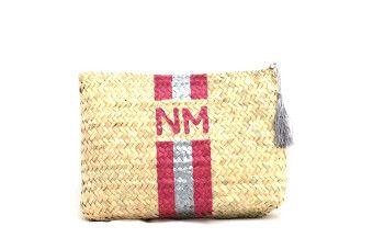 monogram straw clutch